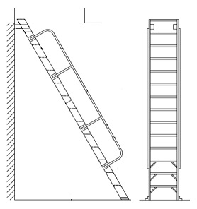 Alaco H60, Ships Stair 60 Deg. Wall-Mount Ladder w/Handrail (6-15 ft) - Alaco # H60 60-Degree Ships Stair type Roof Hatch Access Ladder. 5-15/16 inch wide ridged steps, wall mount brackets, 1-1/4 inch OD aluminum handrails. Price/Each. (Special order; see ordering notes in detail view)