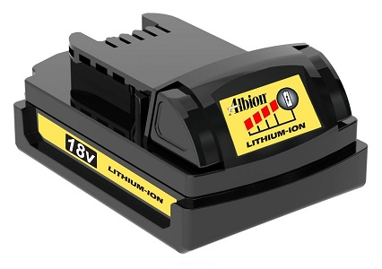 Albion # 982-2 18V Lithium-Ion Battery (UPS ground only) - Albion #942-2 18-Volt Lithium-Ion Battery, 1.5 mAh. New OEM, in retail packaging8and full factory warranty. Price/Each. (ground shipping only, signature required, shipping leadtime 1-3 business days)