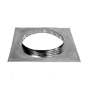 Aura Square Base Flange, 2 inch Collar - Aura 12 inch I.d. Vent Base. 18x18 inch Square Base Flange with 2 inch High Round Collar. Fits all 12 inch Id Vents. All Aluminum. Mill Finish. Price/Each.(special sale, inventory reduction, qty limited)
