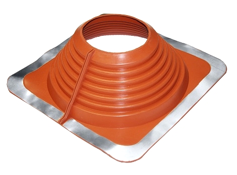 #8 Multi-Flash Retrofit Red Silicon Square-Base Flashing (1) - #8 Multi-Flash, Retro-Style RED SILICONE, Square-Base Pipe Flashing Boot. 17x17 Inch Base 5-3/4 High, 6-3/4 inch Open Top. Retro-Mode fits 6-1/2 - 12 inch Pipes, Standard Over-the-Top fits 6-3/4 to 13-1/2 OD Pipes. Price/Each. (Aztec #MF802RA)