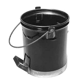 5 Gallon Steel Asphalt Service Bucket with Side Handle - 5-Gallon 24-Gauge All-Steel Hot Asphalt Grade Service Bucket. Features rolled rim, reinforced handle and additional side/bottom handle. Meets OSHA safety Specifications for Carrying Elevated Temperature Materials. Price/Each.