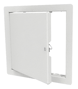 Access Door, 12x12, Flush Mount, Steel, White, Architectural Grade - 12x12 inch Access Door / Panel, Architectural Grade, 16 Gauge Steel, White Powder Coat Finish. All Purpose Flush Mount 1 inch Flange, Screwdriver Cam Latch, Not Fire Rated. Fits Cut Opening of 12.25 x 12.25 inches. Price/Each. (leadtime 1-4 days)