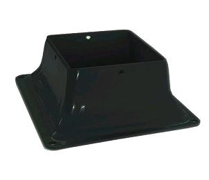 Base 44, Deck Post Base Bracket, 4x4, BLACK color (1) - Pylex 13048, Base 44 Deck Post Base Bracket. Powder Coated BLACK 2 mm (0.079) Steel. Fits 4x4 Wood Posts (3.5x3.5 inch nominal wood size). Price/Each.