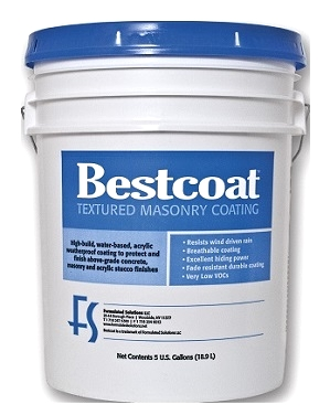 Bestcoat Fine Textured Masonry Coating SPECIFY COLOR (5G) - Bestcoat Fine Textured Masonry Coating. High-build, weather-resistant, water-based acrylic coating used to repair/protect above-grade concrete, masonry and  stucco finishes. 5G/Pail. Price/Pail. (see detail view for ordering n