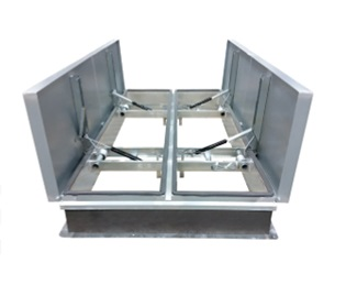72 X 120 in. Roof Smoke Vent, Galv., UL/FM Approved - Milcor U-LP-72120 Roof Smoke Vent / Fire Vent, 72 x 120 inch, Dual Galvanized Steel Cover Doors with a Galvanized Steel Curb Base, UL & FM Approved. aka BIG SMOKEY. Made in USA by Milcor. Price/Each. (shipping leadtime 5-10 days)