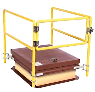 Bilco RL2-L 30 X 96 inch Roof Hatch Rail System, Yellow - Bilco RL2-L, 30x96 Roof Hatch Rail System with Self Closing Gate and Auto Latch. Fits 30 x 96 inch (inside opening size) Roof Hatches (all designs). Not assembled. Price/Each. (shipping leadtime 1-3 business days; roof hatch not included)