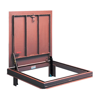 60 X 60 inch Bilco JD-4, Floor Access Door, Steel, Red Oxide Primer - BILCO-JD-4 Floor Access Door, 60 inch Wide x 60 inch Long Opening. Steel. Cover and Frame are 1/4 inch (6 mm) Steel. Alkyd Base Red Oxide Primer Finish. Hinge is on the 60 inch side. Made in USA. Price/Each. (shipping leadtime 2-4 weeks).