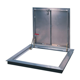 36 X 30 inch Bilco-K-3 Floor Access Door, 1-Leaf, All Aluminum - 36 x 30 inch Bilco-K-3 Floor Access Door, Aluminum, Single Leaf. 1/4 inch diamond plate pattern aluminum cover and extruded aluminum frame. Hinge is on the 30 inch side. Made in USA. Price/Each. (shipping leadtime 2-3 business days)