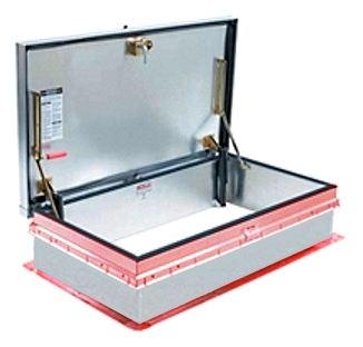 30 x 54 Bilco NB-40 Roof Access Hatch, Aluminum/Steel, Mill Finish - Bilco NB-40 Roof Access Hatch, 30 x 54 inch opening, 11 gauge Mill Finish Aluminum Cover, 14 Gauge Red Primer Steel Frame & Self Flashing Base. Hinge is on the 54 inch side. Made in USA. Price/Each.  (ship leadtime 2-4 weeks)