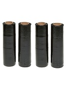 Plastic Stretch Wrap, 18 in X 1500ft, 80ga, Black  (case/4 Rolls)