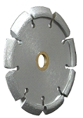 Crack Chaser Diamond Blades, 5 x .375 x 7/8-5/8, 12mm - CRACK CHASING DIAMOND BLADE, 5 x .375, 7/8-5/8 ARBOR, 12MM SEGMENT HEIGHT, SILVER COLOR. PRICE/EACH.