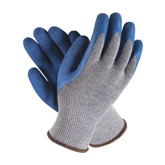 Gloves, Premium Double-Rubber-Dip Poly-Cotton, Large (Pair) - Premium Poly Knit Glove with Double Dip / Extra Textured Blue Rubber on the Plam and Fingers. A long lasting glove. Trimmed with Elastic Extra Long Writs. Large Size. Price/Pair.