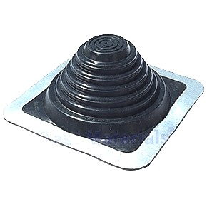 #3 BLACK SILICONE Rubber Square-Base Flashing Boot - #3 BLACK SILICONE Rubber Flashing Boot, 8x8 Inch Square-Base, 3.25 inch High, Fits 0 to 5.75 inch OD Pipes/Rods (0-146mm). Price/Each.