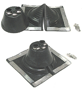 AC Flashing Boot System, 3-Pipe, Square Retrofit Base - AC FLASHING BOOT SYSTEM, 3-PIPE EPDM TOP BOOT WITH SQUARE BASE EPDM RETROFIT FLASHING BASE. FITS TWO 3/4 CONDUIT PIPES AND ONE 3/8 A/C LINE. PRICE/SET.