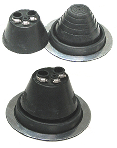 AC Flashing Boot System, 3-Pipe, Round Base - AC FLASHING BOOT SYSTEM, 3-PIPE EPDM TOP BOOT WITH ROUND EPDM BASE. FITS TWO 3/4  CONDUIT PIPES AND ONE 3/8 AC LINE.