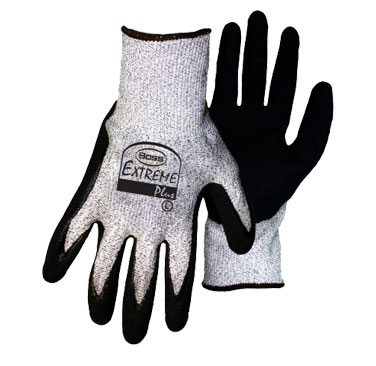 Boss #1CF7004 HPPE Shell, Cut Level-5, Nitrile Palm Dip, Pack/12-Pair - Boss #1CF7004 Extreme Plus Cut Resistant Glove. HPPE Sheel, ANSI Cut-Level 5 Resistance. Fabric is HPPE with a blend of Nylon and Glass Fiber. DOUBLE Dipped Sandy Foam Nitrile Coated Palm. 12 Pair/Pack. Price/Pack.