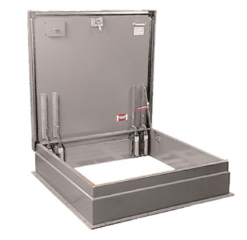 36 x 30 High Security Roof Hatch, Aluminum, Mill Finish - 36 x 30 inch Aluminum High Security Roof Hatch. 1/4 in. Single wall aluminum curb & cover with mill finish. Hinge is on 30 inch side. Price/Each. (leadtime 2-4 weeks. Product may have a different finish than pictured)