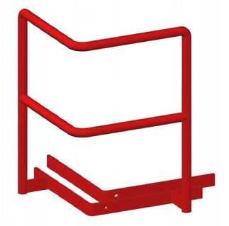 Safety Grab Bar for Roof Hatch, All Steel, Red Powder Coat - Bristolite Safety Grab for Roof Hatch. Red Powder Coated 3/4 inch steel with 1/4 inch steel plate mounting plates, all welded. Grab is 9-3/4 x 15 inches high on each side, with a center grab. With hardware. Price/Each. (ship leadtime 2-4 business days)