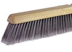24 in. Floor Broom, Fine, Flag Tip, Gray Poly - 24 in. WIDE FLOOR BROOM, FLAG TIP, FINE GRAY POLY SET IN A HARD-WOOD BLOCK. PRICE/EACH.