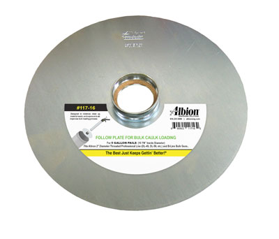 Albion Follow Plate, 10-7/8 inch OD, with Clip Cap Connection - Albion # 117-17, Follow Plate (for 5 Gallon Straight  Pails). Fits pails with a 10-7/8 inch ID and Guns with 1/4-turn Clip-Cap Barrels. Price/Each.  (shipping leadtime 1-3 days)