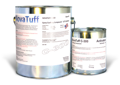 NovaTuff C-300 Flexible Epoxy Sealant, WHITE Color, 0.8 Gallon - NovaTuff C-300 (formerly AES-300) Flexible Epoxy Sealant, 2-part Flexible Epoxy Caulking/Sealant System, WHITE Color. 0.8 Gallon Kit. Price/Kit. (Lead time 2-4 days; Flammable when liquid, UPS Ground or truck shipment only).