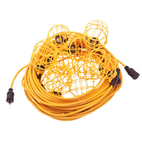 Light String, 100 ft., 10 Socket wtih U-Ground Plug and Connector - CEP # 96132 Temporary Light String, 100 ft., 10 Sockets with Pre-Assembled HD Plastic Guards. Commercial Grade Construction uses 5-15P U-Ground Plug, 5-15R End Connector, 15A/125V 12/3 SJTW Vinyl Jacket. Price/Each.