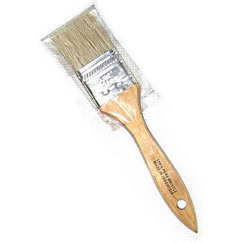1-1/2 in. Natural Bristle Paint Brush / Chip Brush (box/36) - 1-1/2 inch wide x 5/16 thick Natural Bristle Paint Brush / Chip Brush / Pastry Brush. Set in wood handle. 36/Box. Price/Box.