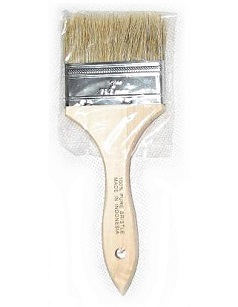 3 inch Natural Bristle Paint Brush / Chip Brush - 3 inch wide x 5/16 thick Natural Bristle Paint Brush / Chip Brush / Pastry Brush. Set in wood handle. Price/Each. (24 units/case. Order full cases for extra discounts)