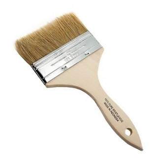 4 inch Wide Paint Brush, Wood Handle (1) - 4 inch Wide Natural Bristle Paint Brush / Chip Brush, set in Wood Handle. Price/Brush.