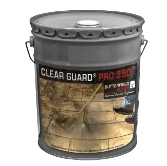 Butterfield Clear Guard Pro350 Cure/Seal, 5G - Butterfield CGG1 Pro 350 Cure and Seal, Gloss finish, UV Stable. For stamped concrete surfaces. 5-Gallon Can. Price/Can. (hazmat, UPS Ground or truck shipping only)