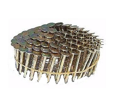 7/8  x .120 in. EG Coil Roofing Nails (7200) - 7/8 LONG x .120 WIRE EG. COIL ROOFING NAILS, SMOOTH SHANK, 3/8 HEAD, WIRE COLLATED COILS, 120 NAILS/COIL, 60 COILS/BOX. 7200 NAILS/BOX. PRICE/BOX.