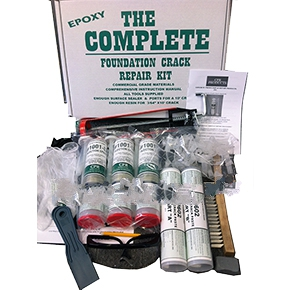 Complete Foundation Crack Repair Kit, Epoxy Injection, 10 ft. - Complete Foundation Crack Repair Kit. Low Pressure Epoxy Injection kit for up to 10 feet of concrete foundation cracks. Includes 3 tubes 10.5 oz. LV injection epoxy, 1 set epoxy port/cover paste, caulk gun, 20 ports & more. Price/Kit. (UPS ground ship onl