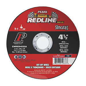 Aluminum Oxide Thin Cut-Off Wheel, Slimcut45, 4-1/2 x .045 x 7/8 (box/25) - Pearl Abrasives CWRED4532A, Redline Max Aluminum Oxide Thin Cut-Off Wheel,4-1/2 inch OD x .045 inch Thick x 7/8 inch Center Hole, A46-Grit, Slimcut 45 T-1 Shape. 25/Box. Price/Box.
