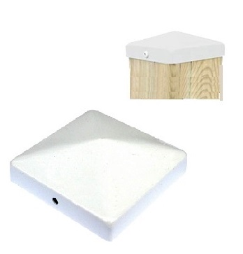 "Cap 44, Deck/Fence Post Top Cover, 4x4, White color (48) - Cap 44, Deck/Fence Post Top Cover, 4x4, WHITE color. Powder coated steel. Fits 4x4 (3.5x3.5"" actual size) Posts. 48/Box. Price/Box. (Lead-time 2-4 Business Day; UPS Ground Shipping Only)"
