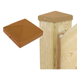 Cap 44, Deck/Fence Post Top Cover, 4x4, Cedar color (48) - Cap 44, Deck/Fence Post Top Cover, 4x4, CEDAR color. Powder coated steel. Fits 4x4 (3.5x3.5 actual size) Posts. 48/Box. Price/Box. (shipping lead-time 2-4 business days)