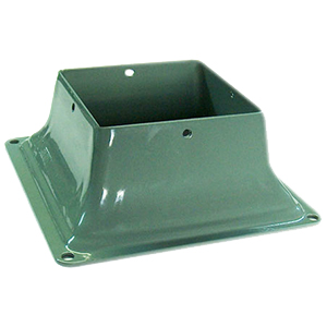 "Base 44, Deck Post Base Bracket Cover, 4x4, KHAKI color (25) - Base 44, Deck Post Base Bracket Cover. Powder Coated KHAKI 2 mm (0.079) Steel. Fits 4x4 (3.5x3.5"" actual size) Posts. 25/Box. Price/Box. (Lead-time 2-4 Business Day; UPS Ground Shipping Only; Broken Boxes Not Returnable)"