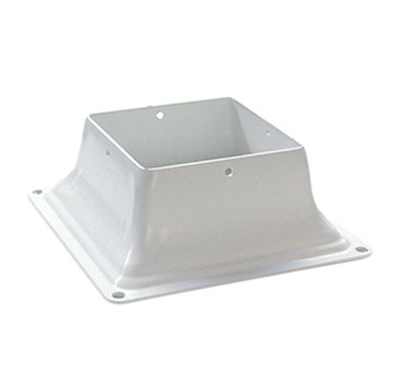 Deck Post Base Bracket, 4x4, WHITE Color (25) - Deck-Post Base Brackets, WHITE Color Powder Coated 2mm (0.079) Steel. Fits 4x4 Posts. 25/Box. Price/Box. (Special order item; shipping leadtime 2-4 days)