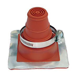 #1 Deck-Mate Red Silicone Boot With Stainless Clamp - #1 Deck-mate Red Color Silicone Boot With Stainless Steel Clamp. 4.8 inch X 4.8 inch Base, 3.9 inch High, Closed Top. Fits 1/4 inch - 2 inch Pipes. Price/Each Boot.