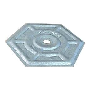 2-7/8 in. Hex , Galvalume Coated Steel  (1000) - Dekfast # 730612 Insulation Board Plate, 2-7/8 inch Hex, AZ5- Galvalume Coated 0.019 Steel, Not Recessed, 0.270 inch ID Hole. 1000/Box. Price/Box.