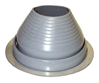 #6 Round Base Gray EPDM Pipe Flashing (1) - #6 ROUND BASE GRAY COLOR EPDM PIPE FLASHING. 12-1/2 Inch DIAMETER BASE. 4.9 Inch OPEN TOP. FITS 5 Inch to 9 Inch PIPES. PRICE/EACH. 10/case.