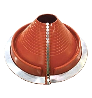 Retrofit Medium Round Base Red-Silicone Pipe Flashing 2 to 7-1/2 - #2 Retrofit Medium Size Red Silicone High Temp Roof Pipe Flashing. Fits 2 to 7-1/2 inch round pipes, on up to 10/12 pitch. 10-3/4 inch diamater round base, with stainless steel closing clamps. Price/Each. (aka DEKS RF902RE)