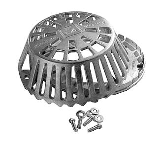 12 in. Cast Aluminum Replacement Drain Dome and Ring Kit - 12 in. Cast Aluminum Replacement Drain Dome and Ring Kit. Included 12 in. OD  x 5 in. Cast Aluminum Strainer Dome, Cast Aluminum Base Ring, 5/16 in. Stainless Steel Hardware. Base aligns to most old drain base patterns from 6-1/2 to 11-3/4. Price/Each.