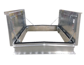 60 X 132, RB-4 Equipment Access Hatch-Double Leaf, Galv. Steel, WHITE - Milcor RB-4, 60 X 132 inch, Double Leaf Equipment Access Hatch, Galvanized Steel Cover and Curb, Fiberglass Insulation in Lid. Made in USA. Price/Each. (aluminum shown in photo; shipping lead time is 5-10 business days)