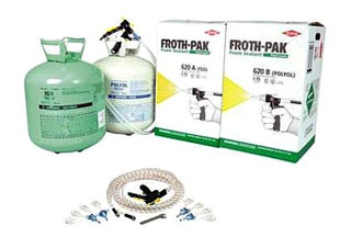 Dow Froth-Pak 650-CA Fire Rated Complete Spray Foam Kit - Dow Froth-Pak 650 CA, Complete Kit. 1.75 PCF 2-Part Spray-Foam Polyurethane Insulation, Class A (1) Fire Rated. 650 Board Feet. Kit includes 15 ft hose & gun assy, 8 cone nozzles, 4 fan spray nozzles, instructions. Price/Kit (UPS Ground / Truck ship only)