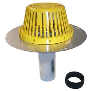 6 in. Aluminum Reroof Drain / Cast Al. Dome, Rubber Seal - PORTALS #66681 6 in. OUTLET ALUMINUM REROOF DRAIN W/ CAST ALUNMINUM DOME COVER AND RUBBER SEAL. PRICE/EACH.