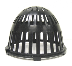 7 5/8x5-1/2 in. Replacement Poly Drain Dome Strainer / Grate - 7-5/8 in. DIA. BASE X 5-1/2 HIGH, REPLACEMENT BLACK POLYETHYLENE DRAIN DOME / STRAINER/ GRATE. TWIST-N-LOCK STYLE. REPLACES POPULAR 8 INCH PLASTIC STRAINERS / DOMES. PRICE/EACH.