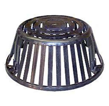 10 inch Plastic Roof Drain Dome / Strainer / Grate, 3-Hole, Black - 10 inch Black Polyethylene Drain Dome / Strainer/ Grate. 9-1/2 OD Base X 4-1/4 High with 3 Bolt Mounting Holes. Replaces Popular 10 Inch Plastic Strainers / Domes. Price/Each.