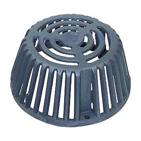 10 inch Cast Iron Replacement Drain Dome / Strainer (1) - 10 INCH CAST IRON REPLACEMENT DRAIN DOME / STRAINER. 9-5/8 OD x 4-1/2 INCH HIGH, 3-BOLT STYLE, EPOXY COATED CAST IRON. REPLACES MOST POPULAR 10 INCH DIAMETER STRAINERS AND WATTS RD1 / 2D DOMES. PRICE/EACH.