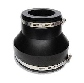 Drain Coupling, 6 to 3 in. Straight Adaptor, PVC Rubber - 6 to 3 Inch Drain Coupler / Connector / Reducer. Adapts 6 to 3 inch pipes, with 2 Stainless Steel Clamps and a reducer bushing (included). Fernco 1056-63. Heavy Duty PVC Rubber. For Roof Drains, Sewer pipes etc. Price/Each. (shipping lead time 1-3 busines
