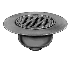 Smith 12-1/4 in. Cast Iron Deck Drain, SPECIFY OUTLET - Smith DX2566 12-1/4 inch OD Grate High Capacity Deck / Floor Drain Kit. 20- inch OD Cast Iron Wide Flange Body with Duco Finish, Sediment Bucket. Price/Each. (see ordering notes in detail view)